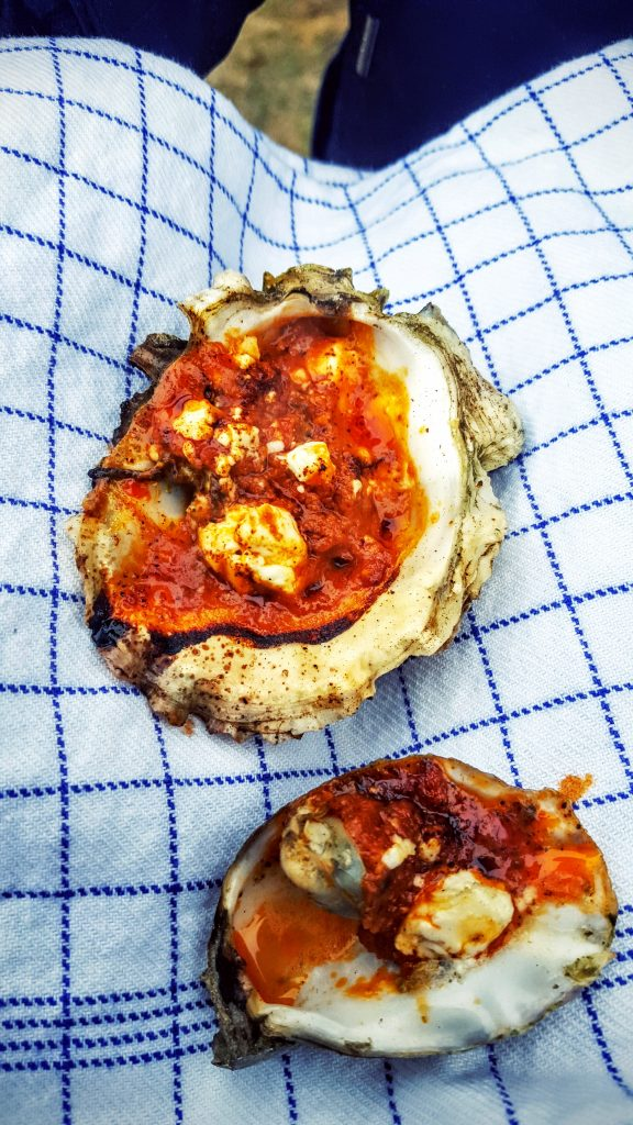 Østers med rød pesto og feta ost; Fanø østers indlæg